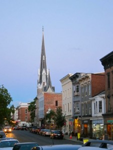 Warren St Hudson NY at dusk looking up town