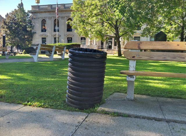 trash barrels County Court House