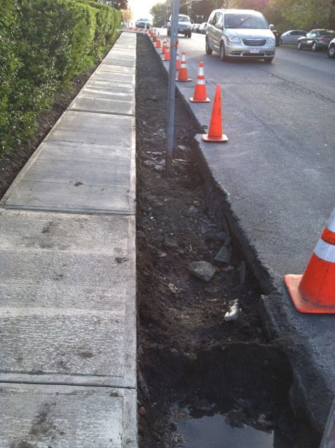 sidewalk under construction Prospect Ave Hudson NY