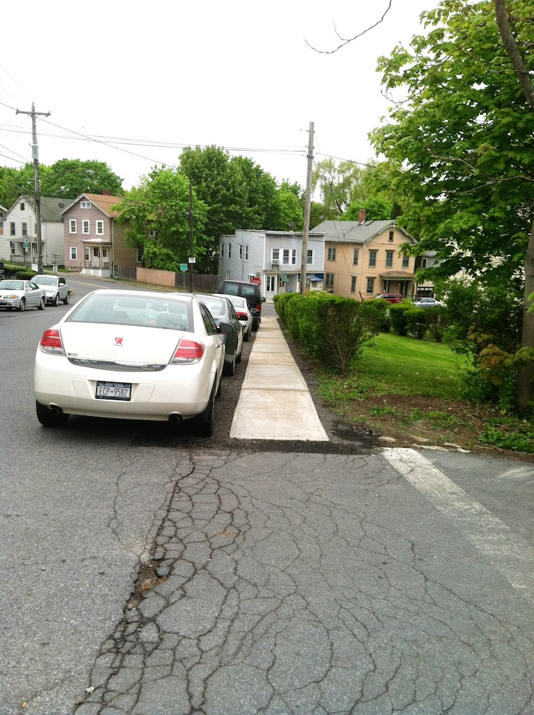 no curbs on new sidewalk on Prospect Ave. Hudson NY