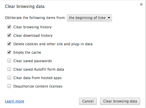 Google-clear-history settings pane