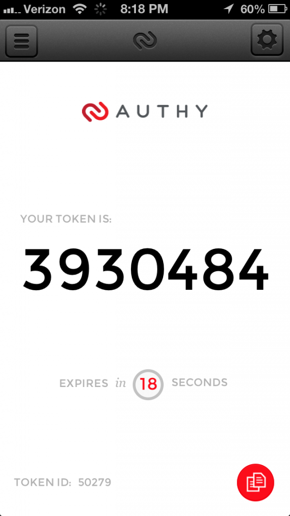 Authy token app - screen shot iPjone