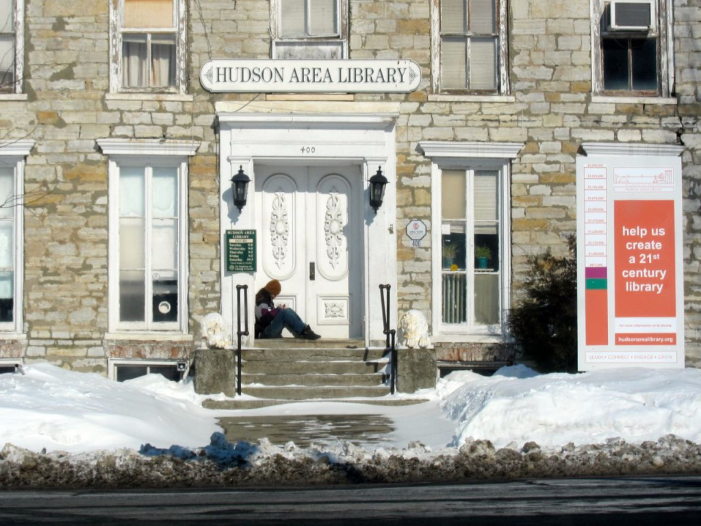 Using Hudson Area Library's wifi - 17 degrees - 25 mph winds 02152015
